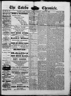 The Toledo chronicle Gazetesi 24 Nisan 1873 kapağı