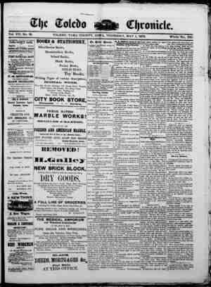 The Toledo chronicle Gazetesi 1 Mayıs 1873 kapağı