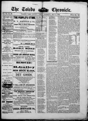 The Toledo chronicle Gazetesi 8 Mayıs 1873 kapağı