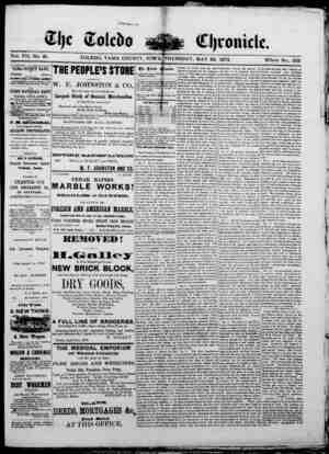The Toledo chronicle Gazetesi 22 Mayıs 1873 kapağı