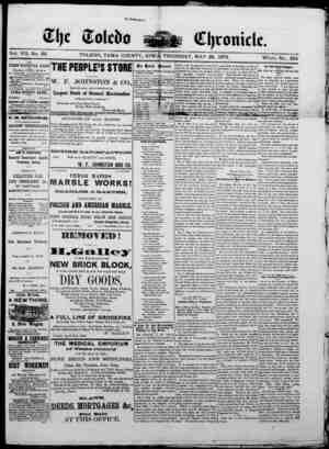 The Toledo chronicle Gazetesi 29 Mayıs 1873 kapağı