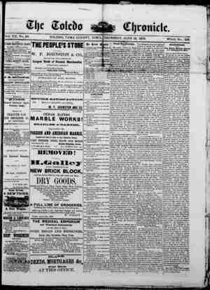 The Toledo chronicle Gazetesi 12 Haziran 1873 kapağı
