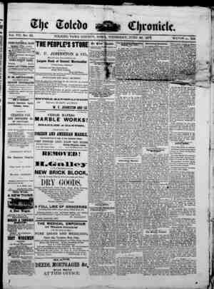 The Toledo chronicle Gazetesi 26 Haziran 1873 kapağı