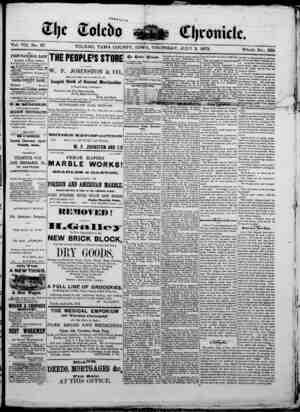 The Toledo chronicle Gazetesi 3 Temmuz 1873 kapağı