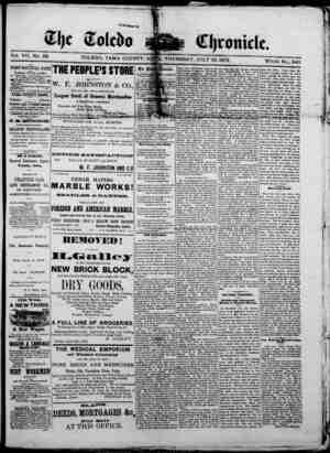 The Toledo chronicle Gazetesi 10 Temmuz 1873 kapağı