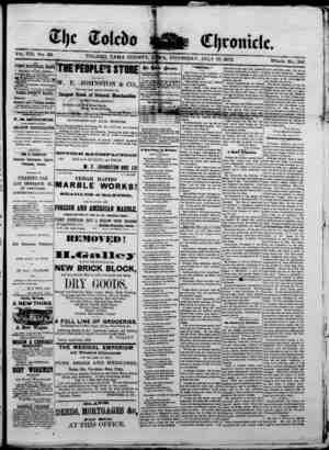 The Toledo chronicle Gazetesi 17 Temmuz 1873 kapağı
