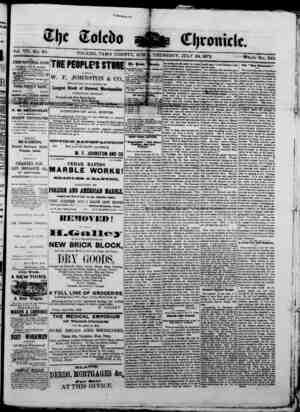 The Toledo chronicle Gazetesi 24 Temmuz 1873 kapağı
