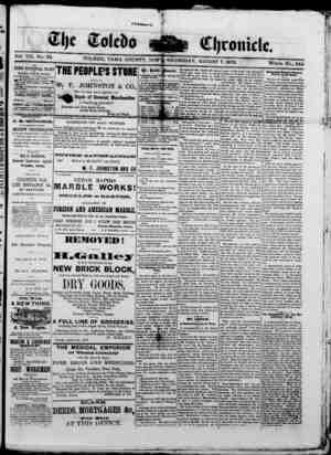 The Toledo chronicle Gazetesi 7 Ağustos 1873 kapağı