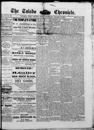 The Toledo chronicle Gazetesi 14 Ağustos 1873 kapağı