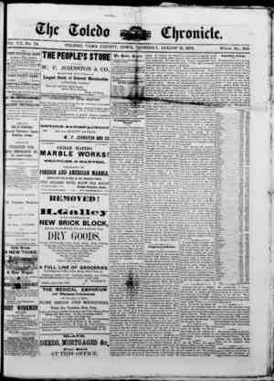 The Toledo chronicle Gazetesi 21 Ağustos 1873 kapağı