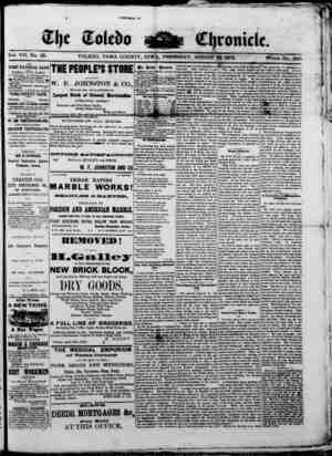 The Toledo chronicle Gazetesi 28 Ağustos 1873 kapağı