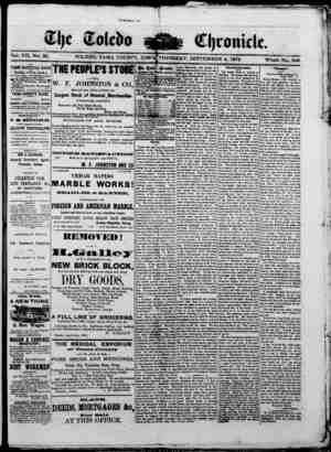 The Toledo chronicle Gazetesi 4 Eylül 1873 kapağı