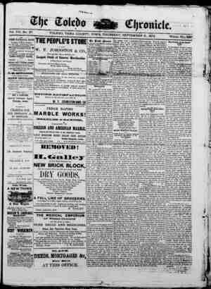The Toledo chronicle Gazetesi 11 Eylül 1873 kapağı