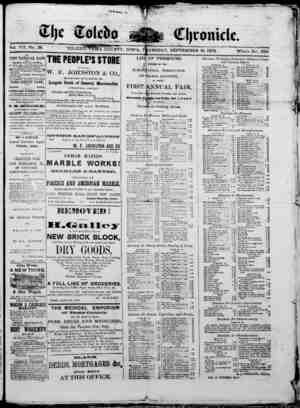 The Toledo chronicle Gazetesi 18 Eylül 1873 kapağı