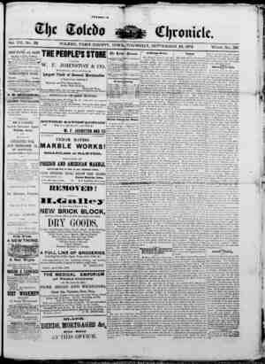 The Toledo chronicle Gazetesi 25 Eylül 1873 kapağı
