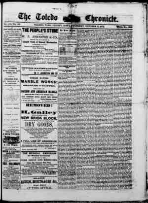 The Toledo chronicle Gazetesi 2 Ekim 1873 kapağı