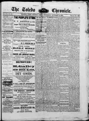 The Toledo chronicle Gazetesi 9 Ekim 1873 kapağı