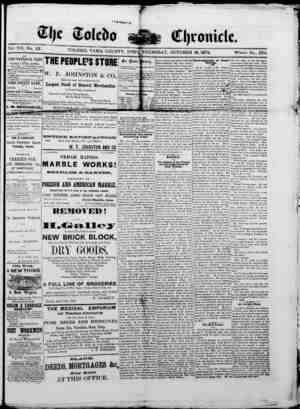 The Toledo chronicle Gazetesi 16 Ekim 1873 kapağı