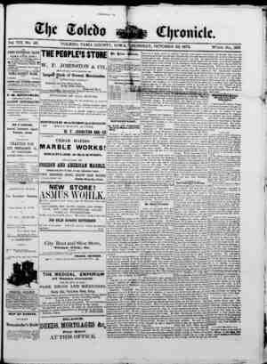The Toledo chronicle Gazetesi 23 Ekim 1873 kapağı
