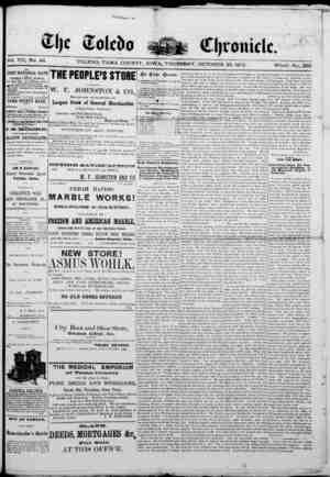 The Toledo chronicle Gazetesi 30 Ekim 1873 kapağı