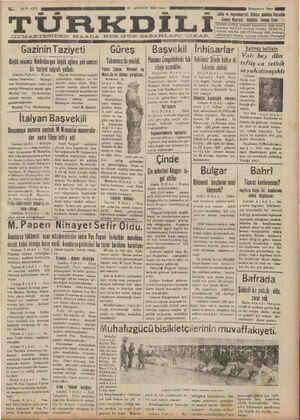 Türk Dili Gazetesi 10 Ağustos 1934 kapağı