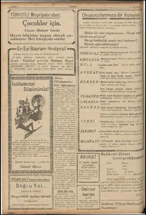 SAYFAİ 4 | TURKD!Lİ N'srıyatır.dan Çocuklar için. Yazan: Mehmet Cevdet | Hayat bilgisine uygun olarak ya- ( zılmıştır. lleı'