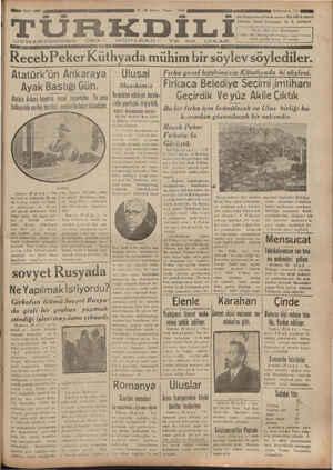 ı af GW ULeed5 ü eç ÇEERTCM eti — — Ş R AU e T Ka dN & AMT L M KA GDT RecebPeker Küthyada mühim bir söylev söylediler. Atatürk'ün Ankaraya Ulusal — Fiırka genel kâtibimizin Kütahyada ki söylevi. Ayak Bastığı Gün. Musikimiz |Flrkaca Belediye Seçimi imtihanı helirl TÇ T G Payaranlar — Ve nopp | Vemekteb edebiyat dersler. — Gecirdik Ve vüz Akile Cıktık