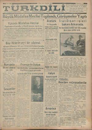 """C:U LA R'TLRIM>IL)1N L LKF A y f DU ada 5 Af G V- Ku s.-.ı..ıın.ı.-x Ü e — —e at 3 : Buyuk MüdafaaMeclisi Toplandı, Goruşmeler Yaptı L — Atatürk İranDışarıişleri Yıl başında * bakanı Ankarada. Hilâliahmar balosu Ve """"""""Vı""""-l A a l_hh'ııh Oııııı;:: lııl;nlî'î'îıı AAA Yuksek Mudafaa Meclisi Toplanarak yurdun yüksek sıyasa ve koru-"""