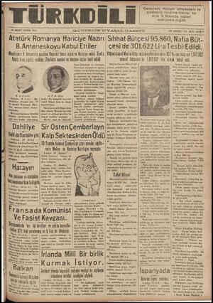 TÜRKDİLE 19 MART CUMA 1957 GUNDELIK SIYA.S.A.L G—AZETE enevrede Hatayın anayasasını ve statüsünü tanzime memur ko- mite 9...