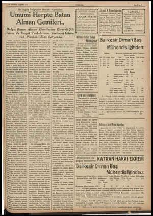 24 BİRİNCİ TEŞRİN 937 Bir İngiliz Dalgıcının Meraklı Hâtıraları: Umumi Harpte Batan Alman Gemileri.. Dalgıç Batan Alman...