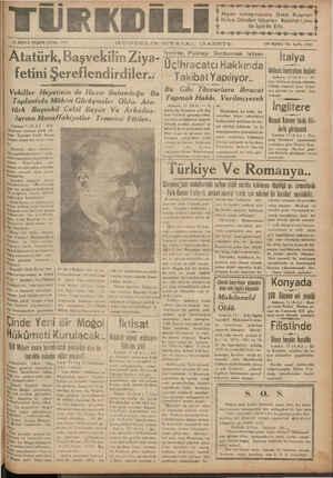 Atatürk, BaşvekılmZı a- - fetini Şereflendırdıler.. ı   — A Vehıller Heyetinin de Hazır Bulundugu Bu a A eaf .. . M G . ASSS İRİINCIİ EEŞRİN CUMA 14337 GUNDEAELİRK SIYA—'—JAL G—AZETE ON İKİNCİ Izmırde Pıyasayı Durdurmak ıstıyenl Uç%hracatcı Hakkında üti Takibat kibat Yapılıyor.. Cİ YIL SAYI: 3707 İtalya İ kıntıılm hı:lıdı nıln dı pl' ıııııkl old Bu Gibi Tüâccarlara İhracat   © oal ol işine İtalya- ireki bu sabah baş- Yanmak Hakbı Verilmivonrnob ha Bi ğir 13 :0i bAÜRARÜkkÜSİ S brke e dd ddd