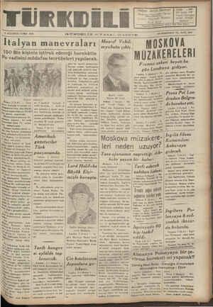 Türk Dili Gazetesi 4 Ağustos 1939 kapağı