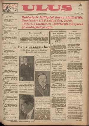 Ulus Gazetesi 28 Kasım 1934 kapağı