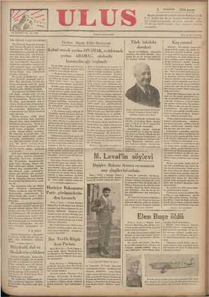 Ulus Gazetesi 2 Aralık 1934 kapağı