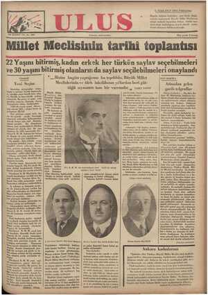Ulus Gazetesi 6 Aralık 1934 kapağı