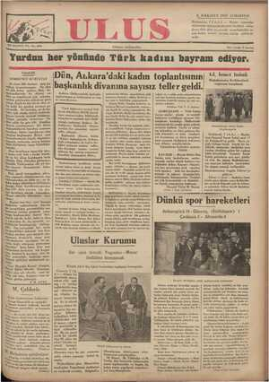Ulus Gazetesi 8 Aralık 1934 kapağı