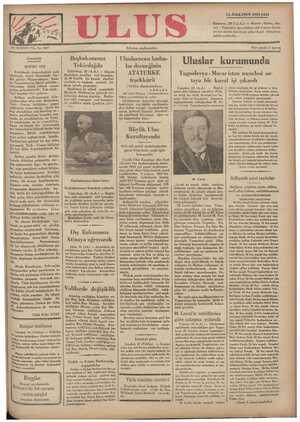 Ulus Gazetesi 11 Aralık 1934 kapağı