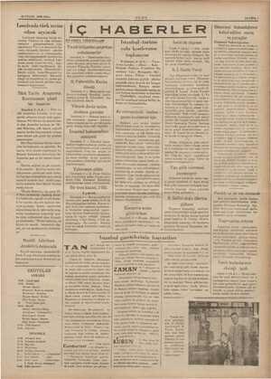 10 EYLÜL 1935 SALı : 'ULUS SAYIFA ! Londrada türk tecim , odası açılacak Londrada tanınmış büyük ku- rumlar Türkiye ile...