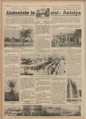"""ni SAYIFA 6 ULUS 6 İLKKÂNUN 1935 CUMA YURDDA """"ULUS, MEMLEKETİMİZİ TANIYINIZ Akdenizin in cisi: Antalya Ulus"""" her fırsattan"""