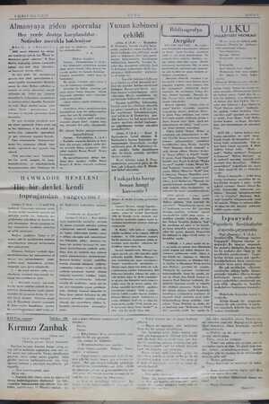 """9 ŞUBAT 1936 PAZAR Almanyaya giden sporcular Her yerde da Neticeler mera h. 4 1086 senesi Almanya kış olim """"yet oyunlarına"""