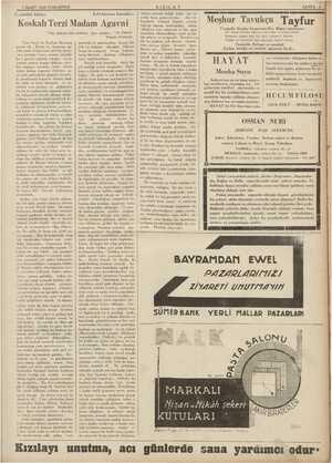 """7 MART 1936 CUMARTESİ Üç günlük hikâye Eski bayram hatıraları: Koskalı Terzi Madam Agavni """"Yaz aşkına dair dediniz işte..."""