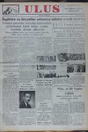 """İngiltere ve Sovyetler notamıza müsbet covab verd'ler Yabancı gazeteler boğazlar hakkımdaki n * © t 97 4 d K Ş '.LC.L Umumi kongresi görüşümüzü haklı bulan yazılar B : - : aA Yeni nizamnameyi konuşuyor . neşrinde devam ediyorlar Polonya hüküm etinin yarı resmi g azetesi diyor ki: AAA S AF YS N l S SA SAA AĞ V — S l T ğ 1 M A Deleğgeler dün Türk kuşu alanında nlânörlerin ve Darasiteülerin 9 ğ )â g """" a ğ"""