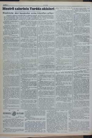 — . : : İ l . SAYFA 4 ULUS Montrö zaferinin Yurdda akisleri Memleketin dört bucağından sevinç telgrafları geliyor Boğazların