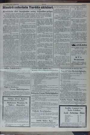 25 TEMMUZ 1936 CUMARTESİ ULUS Montrö zaferinin Yurdda akisleri Memleketin dört bucağından sevinç telgrafları geliyor...
