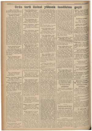 SAYFA 4 pena (Başı 1. inci sayfada) dar, İbrahim Rüştü e M. Şefik Van, M. Celâleddin Piyade yarbaylıktan piyade ylığa terfi