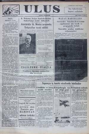 ULUS 3 SONKÂNUN 1937 PAZAR S haberlerimiz beşinci sayfadadır ON YEDİNCİ YIL. NO: 5544 Başbetke PROGRAM - NUTUK Falih Rıfkı