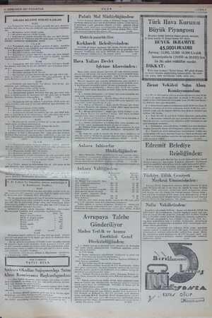 M nT 11 SONKANUN 1937 PAZARTESİ I ANKARA BELEDİYE REİSLİĞİ İLANLARI I İ İLAN 1.— Yenişehirde 1049 uncu adada 2 parselde 105