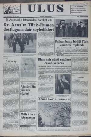 B. Antonesko İstanbuldan haıîeîk-e elti _1 Dr. Aras'ın Tür k Rumen dostluğuna dair sö ledıkİerı 0 (ALA.) — Ron