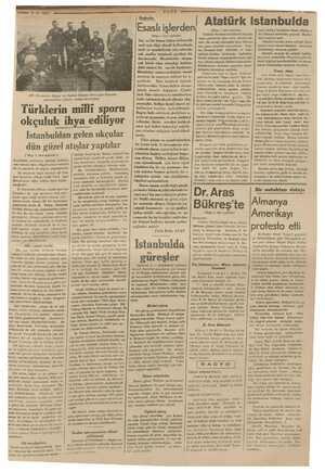 BB. li Okyay v e Vakkas em Türk Spar Kurumu irlerken imessilleri öndünde izahat ver, Türklerin milli sporu okçuluk ihya...
