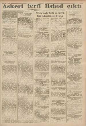 — 29.8- 1937 Askeri terti listesi çıktı , Şüki Kurmay binbaşılıktar kurmay yarbaylığa terfi eden Hali Ku hay eye kurmay...